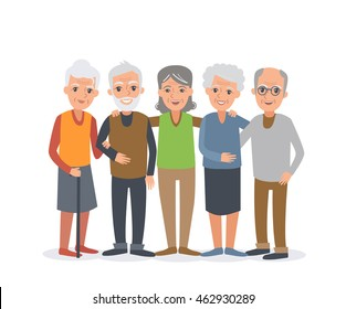 Group of elderly people stand together. People illustration isolated on white background.