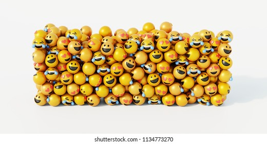 Group of emoticons 3d rendering background, social media and communications concept