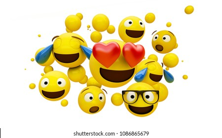 group of emoticons isolated on white background 3d rendering