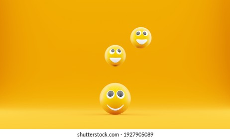 Group of emoticons smiling together. 3D illustration of happiness