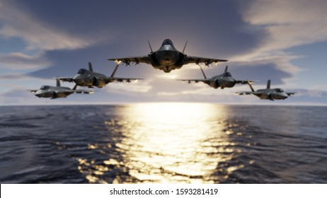 Group of F-35 jet fighters low flying over sea with flypast formatin 3d rendering