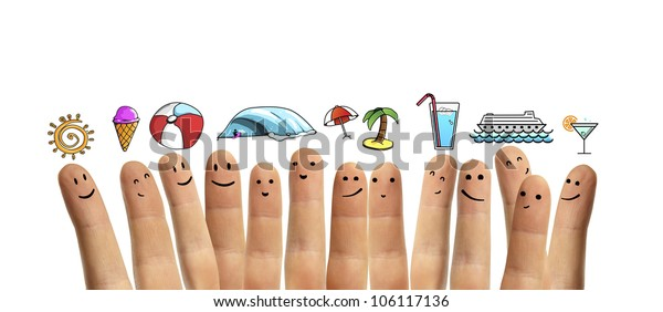 group finger smileys with vacation symbol on a white background