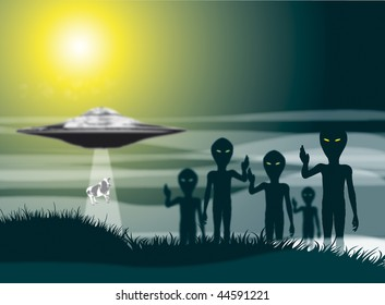 A group of five aliens on a dark misty background set against a moonlight sky with a flying saucer to middle distance with a cow being abducted into the spaceship.