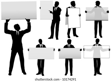 Group of Five Business Men hold copyspace background signs, in a total of 7 versions, some signs translucent.