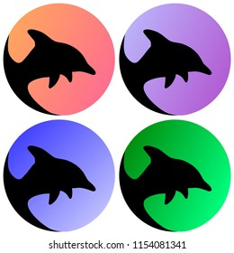 A group of four artistic dolphins heads in a circle with shaded colours