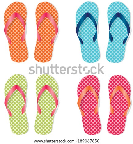 40f8cb5bf Group Four Flip Flops Sandals Different Stock Illustration 189067850 ...