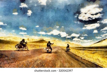 Group of friends on motorcycles adventure oil painting