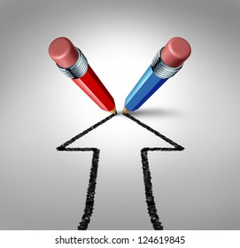 Group goals and joining forces together as a team partnership for business success as a red and blue pencil drawing an arrow going up as a financial icon of a strong relationship for wealth growth.