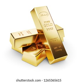 Group of gold bars isolated on white background 3d render