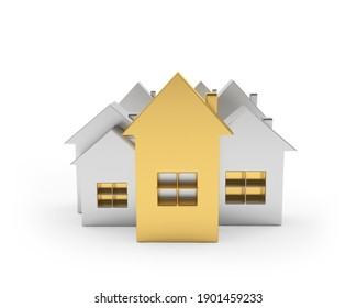 Group of gold and silver houses icons of different sizes isolated on white. 3d illustration