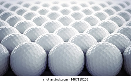 Group of golf balls - closeup - 3D illustration