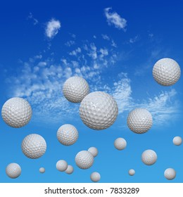 A group of golf balls course into a high cloud blue sky. High drives. 3D illustration.