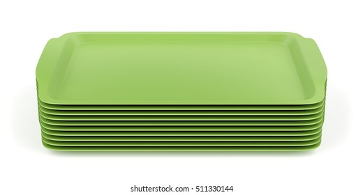 Group of green plastic trays on white background, 3D illustration