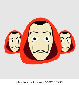 A group of guys with different Expressions, Red Hood and big moustache. La Casa de Papel (Money Heist) Illustration
