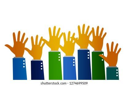 Group of hands arms raised volunteer concept, 3D rendering