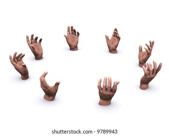 group of hands in a circle with empty space in the middle