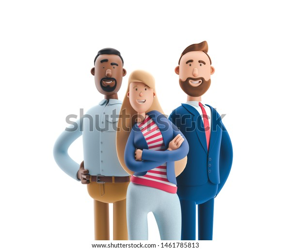 Group of happy cartoon characters standing on a white background. Stanley, Emma and Billy. 3d illustration.
