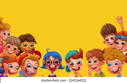 Group of happy children waving at the camera. Childhood, school, people,  children's panorama, concept, brochure. Funny cartoon character.
