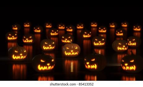 group of happy halloween pumpkins