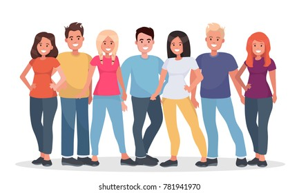 Group of happy people in casual clothes on a white background. Young people are standing shoulder to shoulder with each other. Iillustration.