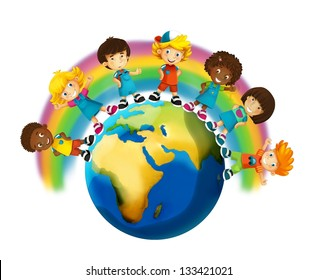 The group of happy preschool kids - around the earth - colorful illustration for the children