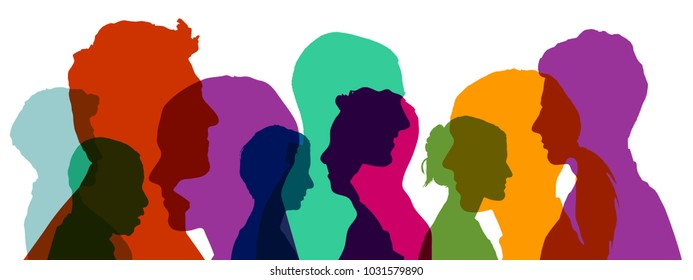 Group of heads in different colorful colors as a team