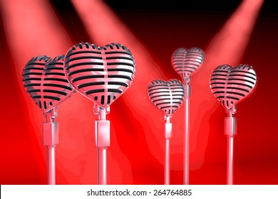 Group of heart shaped classical microphones on tripods in a stage situation, red spot light situation, 3d rendering