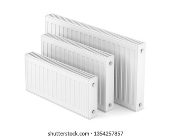 Group of heating radiators with different sizes on white background, 3D illustration