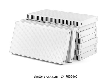 Group of heating radiators on white background, 3D illustration