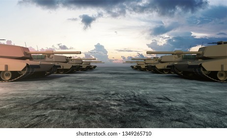 Group of Heavy Military Tank in Battlefield Landscape at Sunset. 3D Rendering