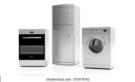 Group of inox home appliances isolated on white background