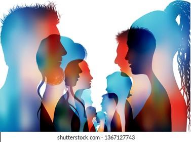 Group of isolated colored silhouette people talking. Dialogue of profile people. Communication between the crowd. Discussion or comparison between friends. Conference or debate. Multiple exposure