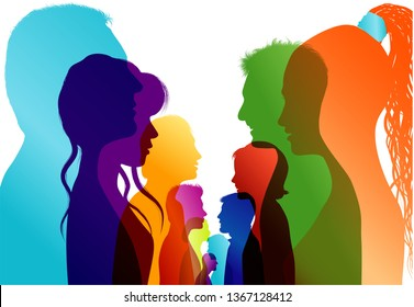 Group of isolated colored silhouette people talking. Communication between the crowd. Dialogue people profile. Discussion or comparison between friends. Conference or debate. Multiple exposure