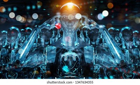 Group of male robots following leader cyborg army concept 3d rendering