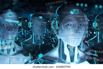 Group of male robots heads using digital hologram screens interface 3d rendering