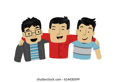 Group of men with arms around each other