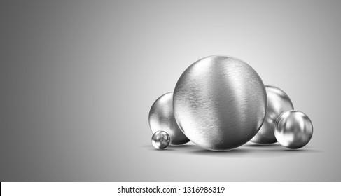 Group of Metal Spheres on gradient background. 3D Rendering