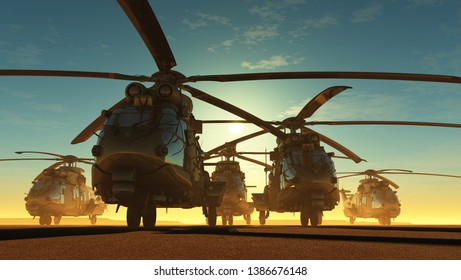A group of military helicopters.3d render