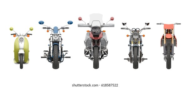 group motorcycles front view isolated on white 3d rendering