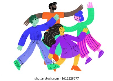 Group of multicultural people on white background. Diverse cultures.  Friendly men and women. Happy people jumping and having fun illustration
