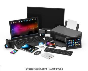 Equipo de oficina. Portátil, monitor, Tablet PC, teléfono inteligente, impresora, teclado, objetivo de cámara, cámara fotográfica digital, ratón de ordenador y disco duro