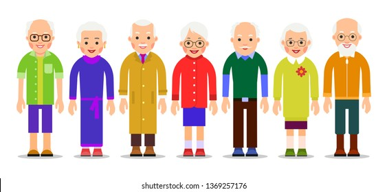 Group older people. Adults person stand next to each other. Elderly men and women. Aged citizens caucasian. Illustration of people characters isolated on white background in flat style.
