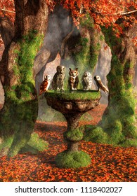 A group of owls sits perched on the edge of an old, moss covered bird bath, including a grey owl, a great horned owl, a snowy owl, and barn owls.  Around them is an autumn forest. 3D illustration