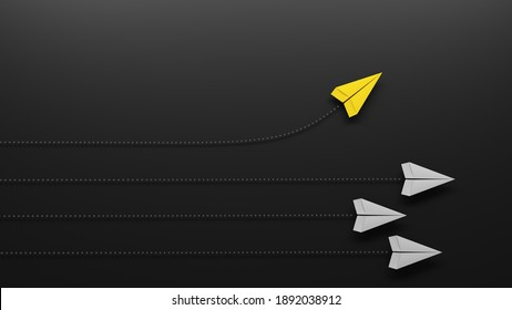 Group of paper planes flying in one direction and one turning in another direction. Business concept for new ideas, innovative solution and creativity. 3D illustration
