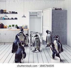 Die Gruppe der Pinguine findet im Kühlschrank Frosen. Kreativkonzept für Foto und 3D-Mix