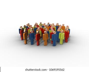 Group of people, 3D rendering