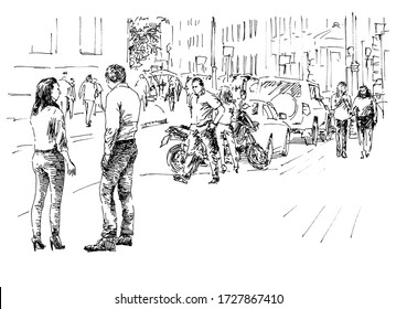 Group of people in casual style on the sity street. Summer day black and white hand drawing with pen and ink. Engraving, etching, sketch style.
