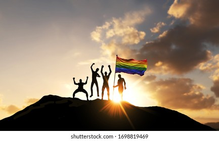 A group of people celebrate on a mountain top with Gay Pride flag. 3D Render