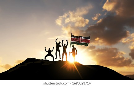 A group of people celebrate on a mountain top with Kenya flag. 3D Render
