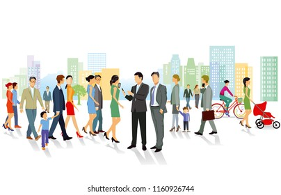 Group of people in the city, illustration